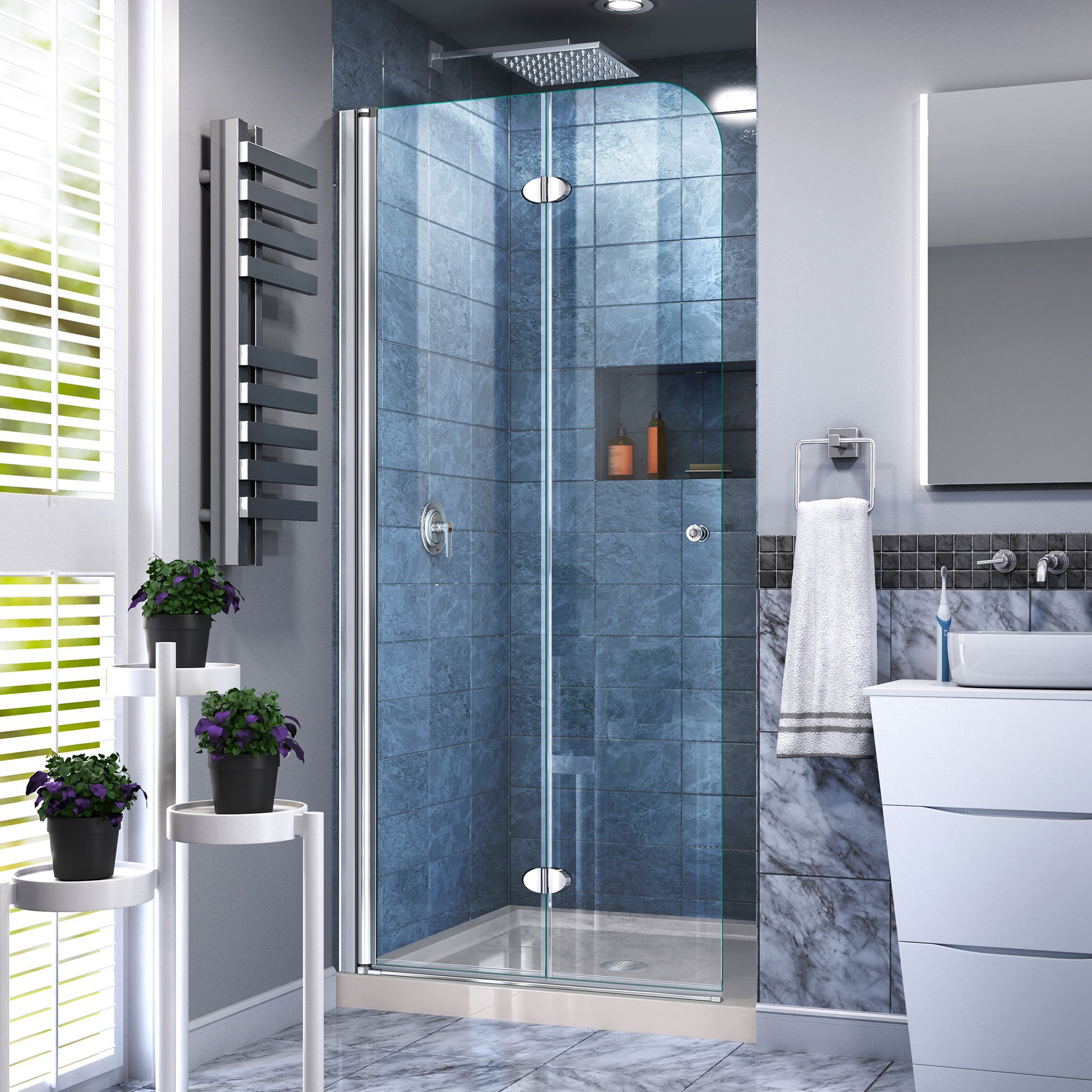 DreamLine Aqua Fold 32 in. D x 32 in. W x 74 3/4 in. H Frameless Bi-Fold Shower Door in Chrome with Biscuit Acrylic Base Kit, DL-6529C-22-01