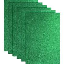 Glitter Heat Transfer Vinyl for T-Shirts 10 x 12 Inches 6 Sheets (Green)