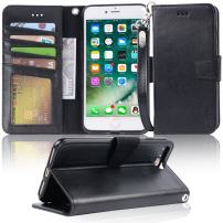 "Arae Case for iPhone 7 Plus/iPhone 8 Plus, Premium PU Leather Wallet Case with Kickstand and Flip Cover for iPhone 7 Plus (2016) / iPhone 8 Plus (2017) 5.5"" (not for iPhone 7/8) - Black"