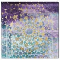 "The Oliver Gal Artist Co. Oliver Gal 'Viridian Violet Mandala' Teal Classic Wall Art Print Premium Canvas 24"" x 24"" Purple"