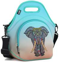 """QOGiR Insulated Neoprene Lunch Bag Tote with Zipper Pocket & Strap - Large 12"""" x 12"""" x 6.5"""" inch(Fits Containers up to 8""""Lx7""""Hx6""""W) ~ Elephant"""