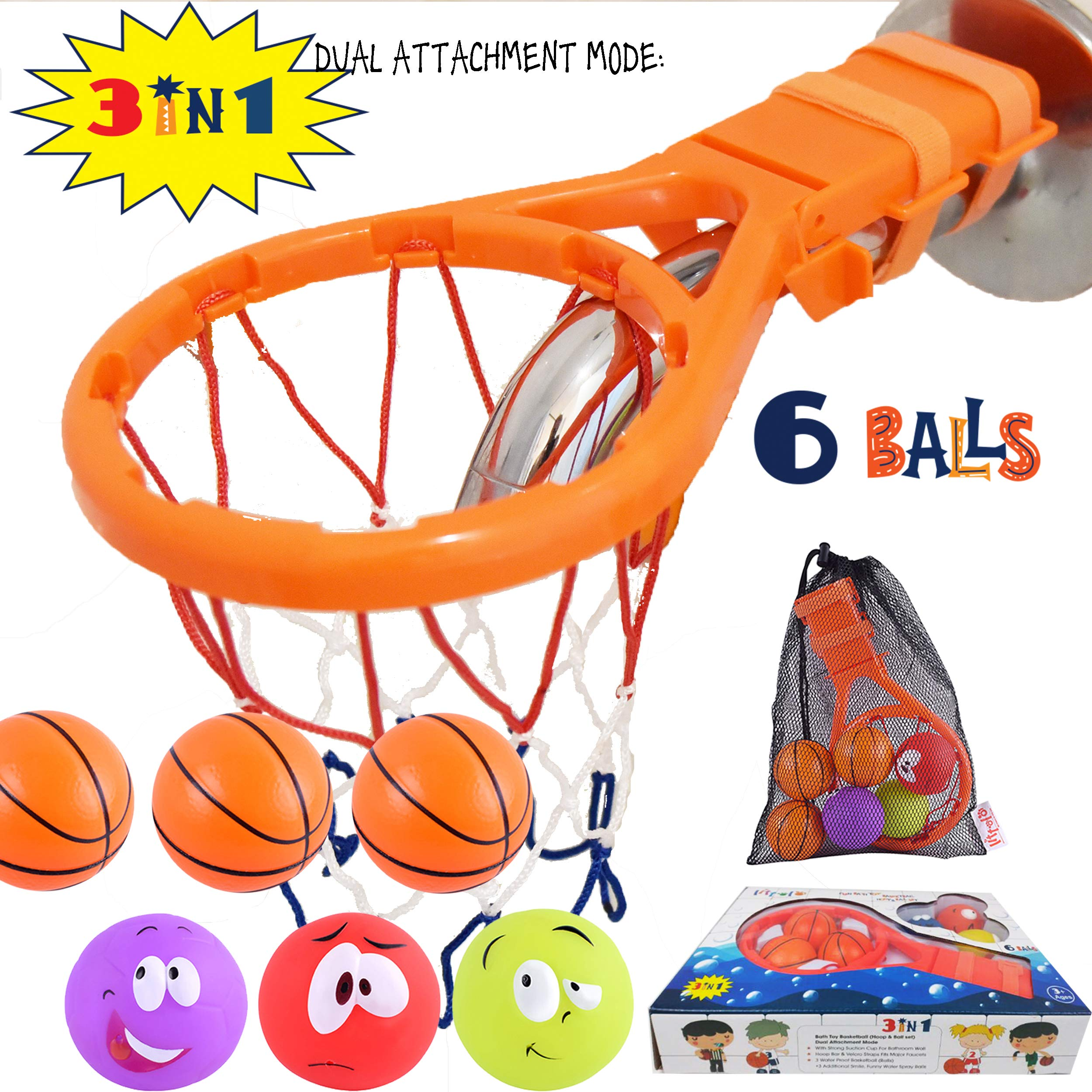 Littolo Bath Toy Basketball Hoop & Balls PlaySet(3 in 1 Design) with 6 Balls, Gift Box,Mesh Bag,Bathtub Toy Gadget for Boys Girls,Kids,Toddlers Gift,Strong Suction Cup,Magic Rope,Smiley Ball,Fun Time