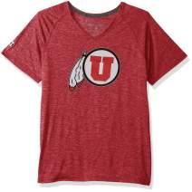 NCAA Texas Tech Red Raiders Women's Electrify 2.0 V-Neck Short Sleeve Tee, Scarlet Heather, Small
