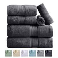6-Piece Towel Set. 100% Cotton Bathroom Towels. Absorbent Quick-Dry Plush Towels. Set Includes 2 Bath, 2 Hand, and 2 Wash. (6 Piece Set, Dark Grey)
