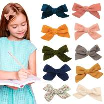 Hair clips bows for toddler girls - girl bow hair accessories barrettes - alligator clip for Teens Kids Toddlers (Corduroy Color Mix)