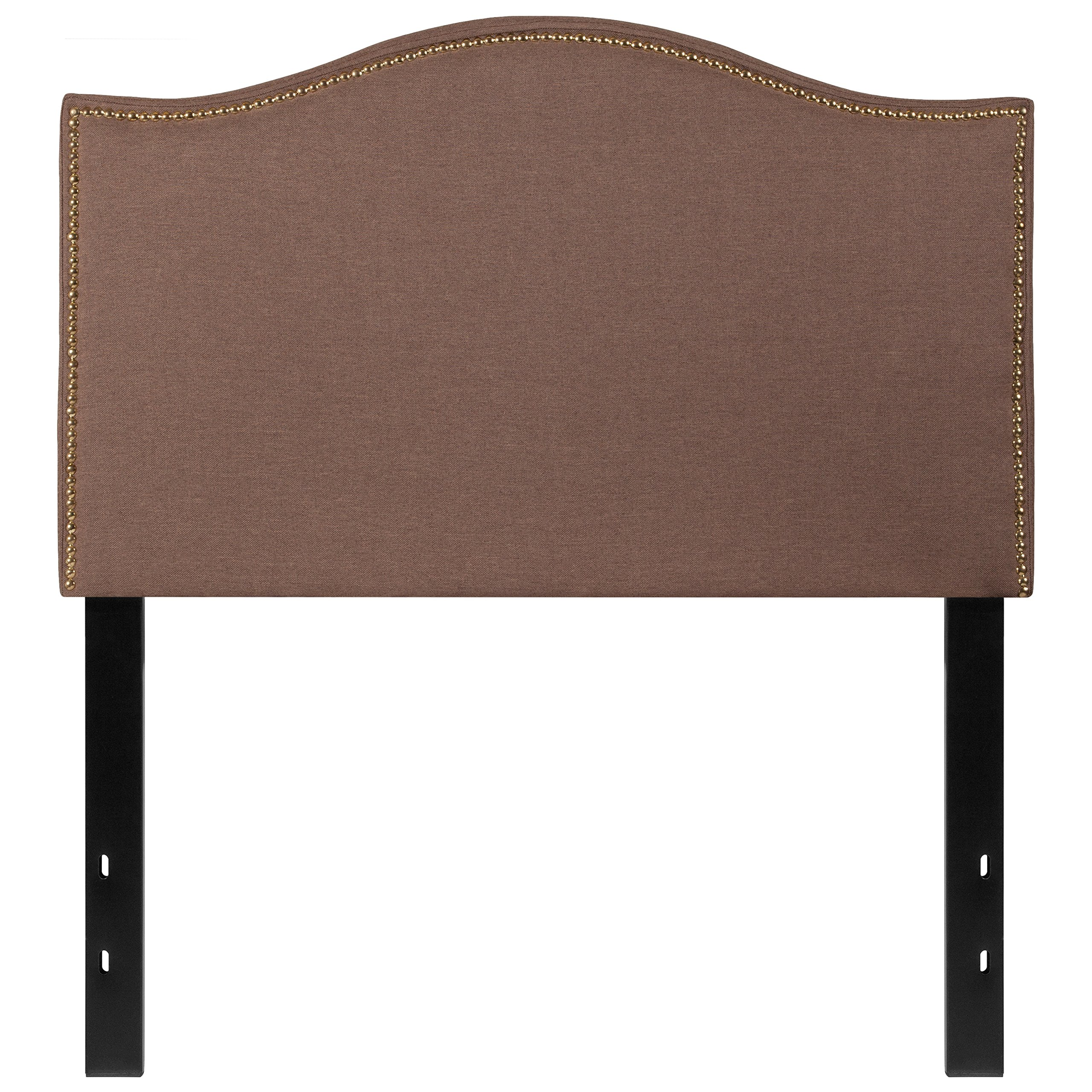 Flash Furniture Lexington Upholstered Twin Size Headboard with Accent Nail Trim in Camel Fabric