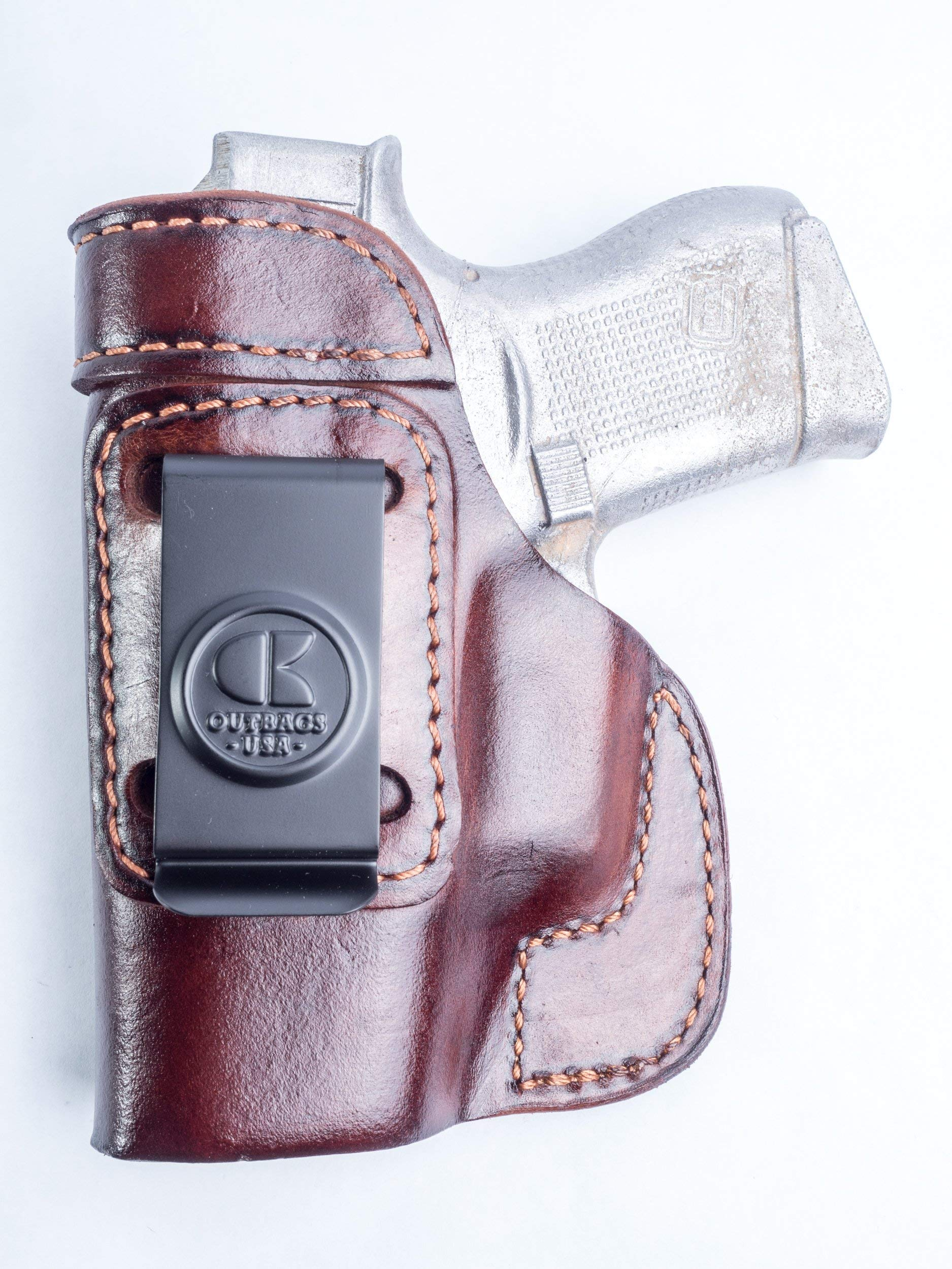 OutBags USA LS2G43 Full Grain Heavy Leather IWB Conceal Carry Gun Holster for Glock 43 G43 9mm. Handcrafted in USA.