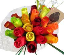 The Original Wooden Rose Fall Harvest Festival Thanksgiving Flower Bouquet Closed Bud (2 Dozen)