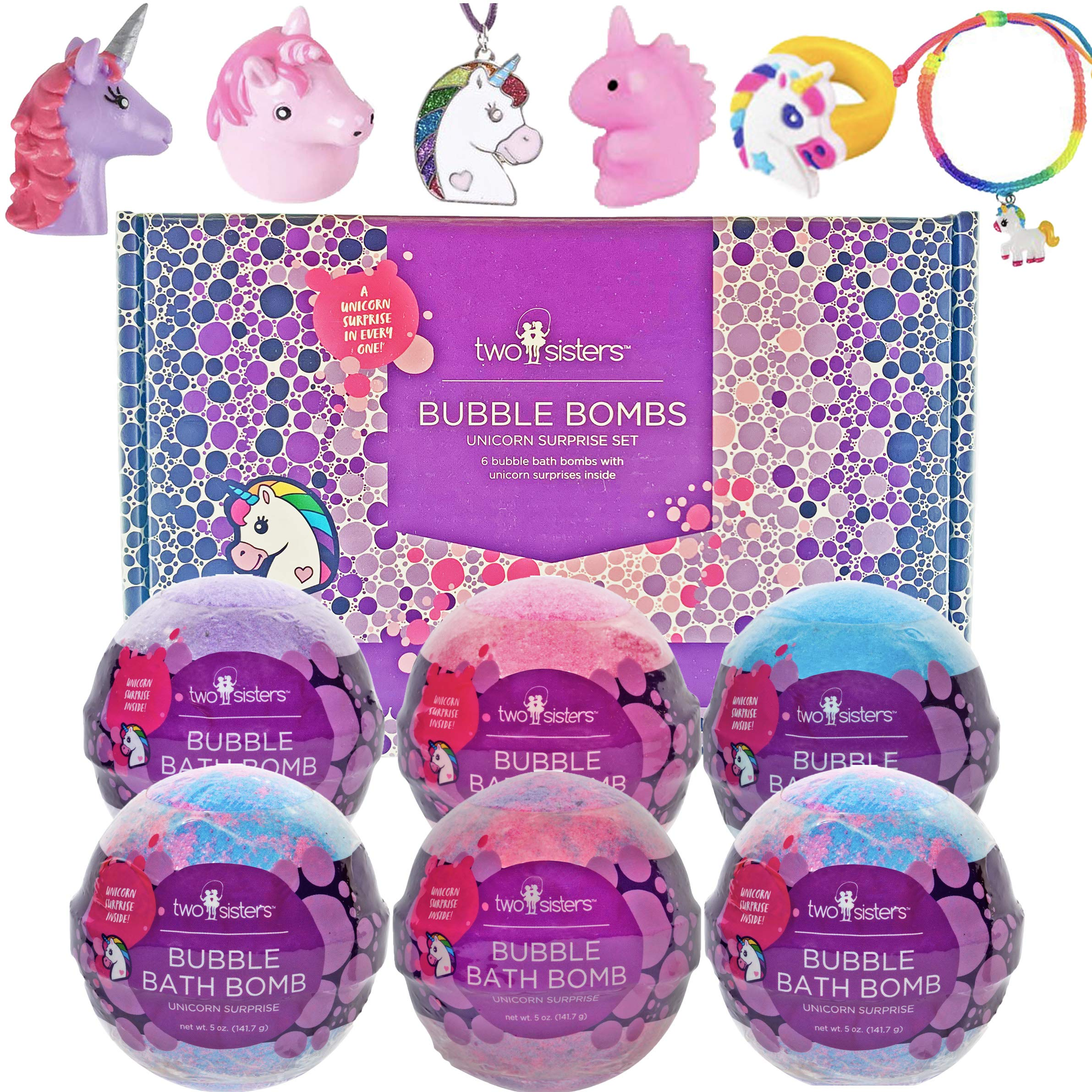 Unicorn Bubble Bath Bombs for Girls with Surprise Toys Inside by Two Sisters Spa. 6 Large 99% Natural Fizzies in Gift Box. Moisturizes Dry Sensitive Skin. Releases Color, Scent, and Bubbles.