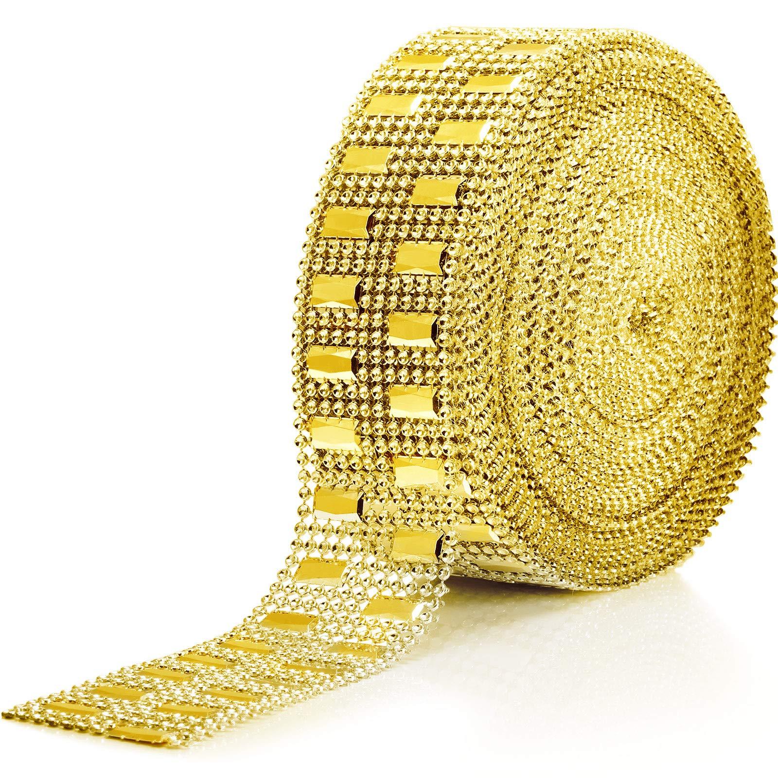 10 Yards Acrylic Rhinestone Diamond Ribbon Faux Diamond Bling Mesh Wrap for Wedding Cakes Birthday Decorations, Baby Shower and Craft Project (Gold, 2 Row)