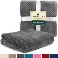 PAVILIA Premium Flannel Fleece Throw Blanket for Sofa Couch | Charcoal Dark Grey Waffle Textured Soft Fuzzy Throw | Warm Cozy Microfiber | Lightweight, All Season Use | 50 x 60 Inches