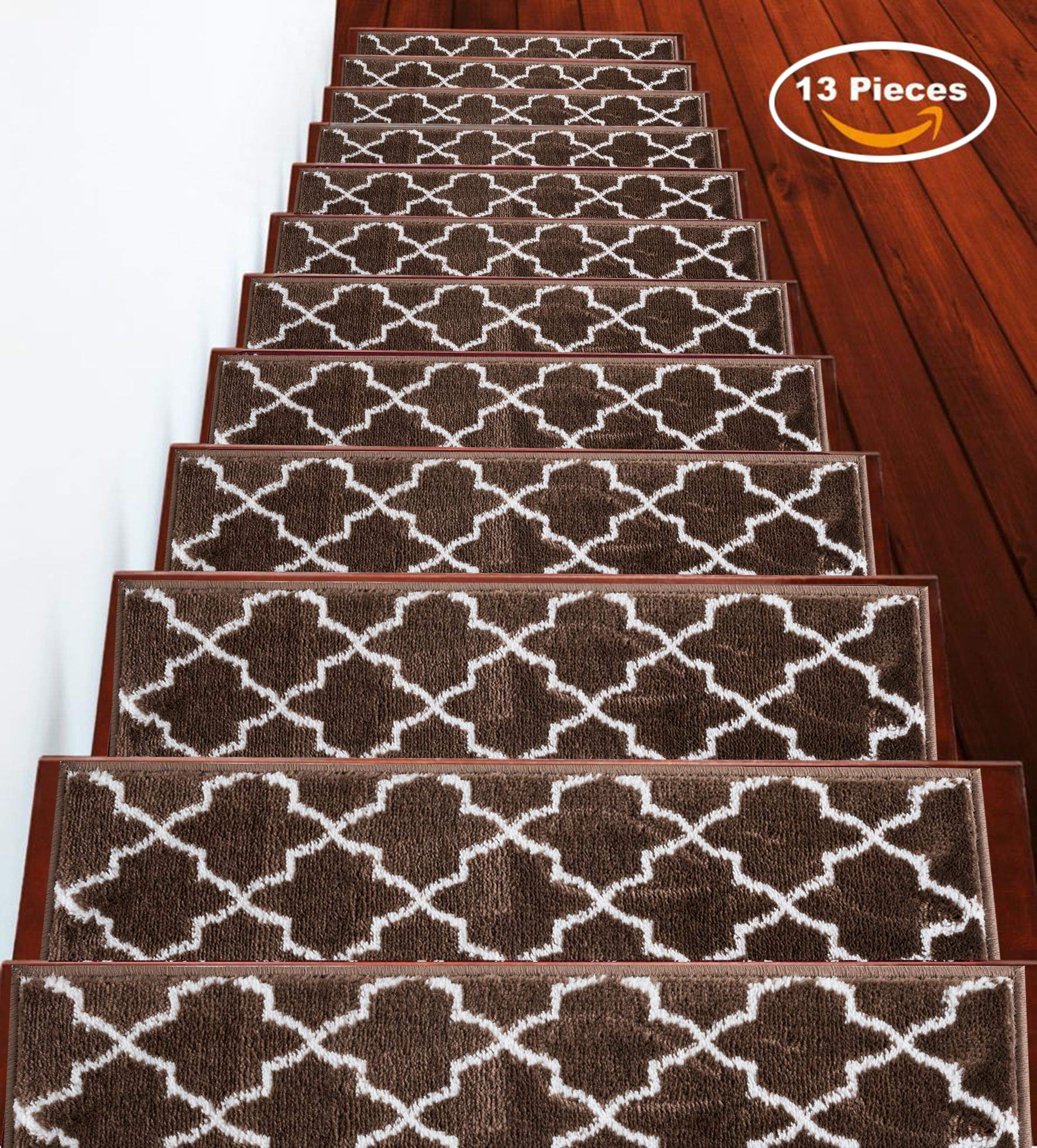 """SUSSEXHOME Stair Treads Trellisville Collection Contemporary, Cozy, Vibrant and Soft Stair Treads 