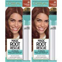 L'Oreal Paris Magic Root Rescue 10 Minute Root Hair Coloring Kit, Permanent Hair Color with Quick Precision Applicator, 100% Gray Coverage, 4R Dark Auburn, 2 count
