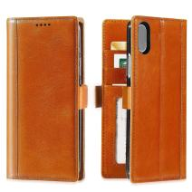 iPulse Journal for iPhone Xs Italian Full Grain Leather Case Handmade Flip Wallet Case for iPhone Xs/iPhone X/iPhone 10 with Magnetic Closure - Cognac