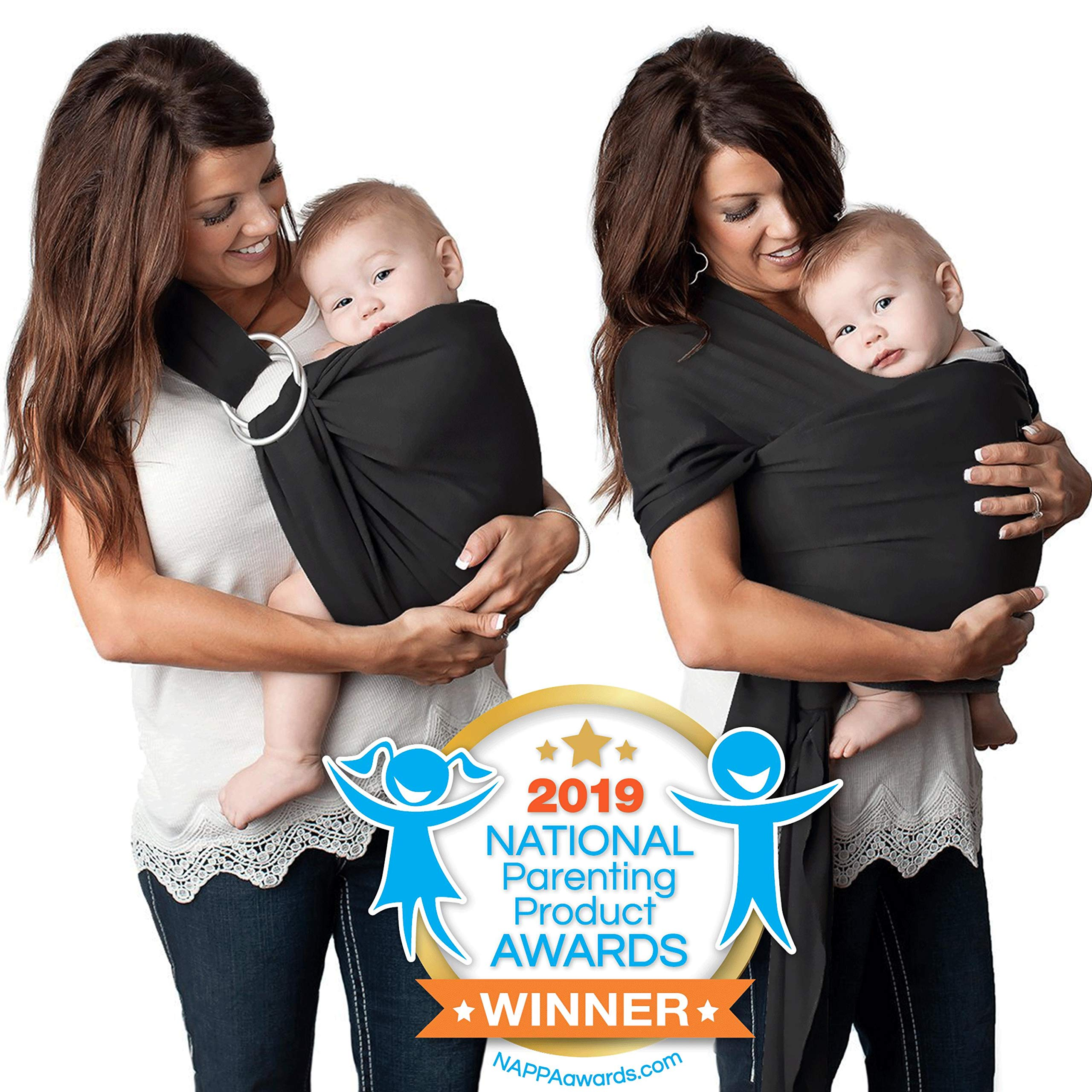 4 in 1 Baby Wrap Carrier and Ring Sling by Kids N' Such | Black Cotton | Use as a Postpartum Belt and Nursing Cover with Free Carrying Pouch | Best Baby Shower Gift for Boys or Girls