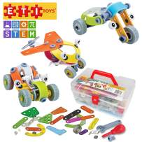 ETI Toys, STEM Learning, 163 Piece Lil Engineers Build & Play 3 Vehicle Building Blocks. Automobile, Plane, Tricycle. Creative Skills Development. Gift, Toy for 8, 9, 10 Year Old Boys and Girls