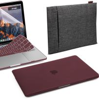 GMYLE 4 in 1 MacBook New Pro Touch Bar 13 Inch A1989/A1706/A1708 (2016,2017,2018 Release) Bundle, Hard Case, Double Canvas Water Repellent Sleeve Bag, Keyboard Cover, Screen Protector - Burgundy Red
