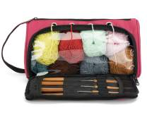 Pacmaxi Yarn Storage Knitting Organizer Lightweight Yarn Storage Bag with Holes Portable Knitting Organizer for Cotton Yarns, Crochet Hooks, Knitting Needles(Up to 10 Inch) (Rose Red)