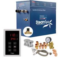 SteamSpa Premium 12 KW QuickStart ACU-Steam Bath Generator Package with Built-in Auto Drain in Polished Chrome | Steam Generator Kit with Touch Screen Auto Drain Steamhead 240V 38A | PRT1200CH-A