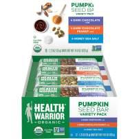 Health Warrior Organic Pumpkin Seed Protein Bars, Variety Pack, 8g Plant Protein, Gluten Free, Certified Organic, 12 Count