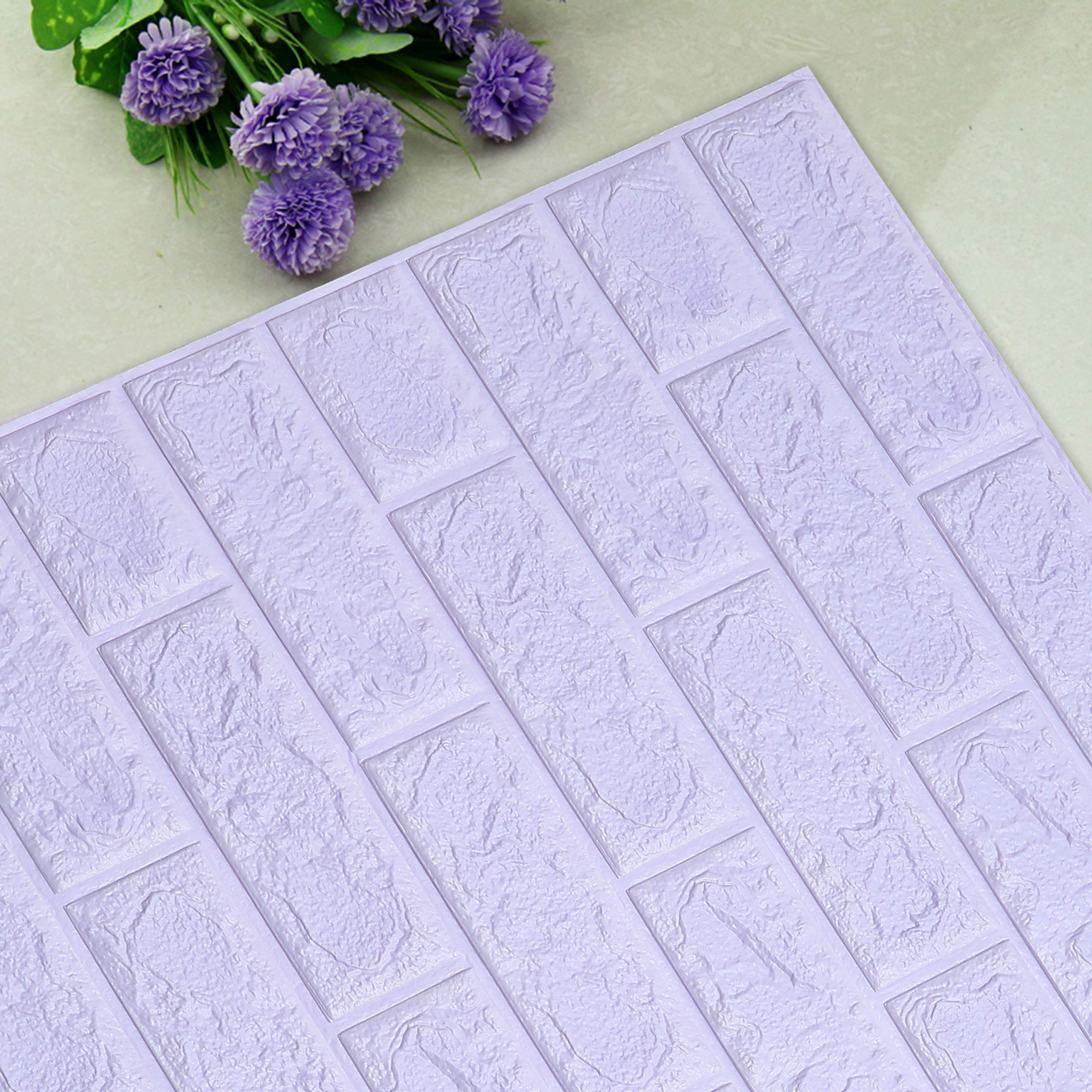UNICOO - 3D Wall Panels Peel and Stick Self-Adhesive Real Bricks Effect Wall Tiles for Kids Room Bathroom Living Room TV Walls Sofa Background Wall Decoration. 116sq ft 20 Packs (Purple)