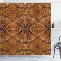 """Ambesonne Tribal Shower Curtain, Boho Bamboo Pattern Primitive Eastern Jagged Wood Style Print, Cloth Fabric Bathroom Decor Set with Hooks, 84"""" Long Extra, Ginger"""