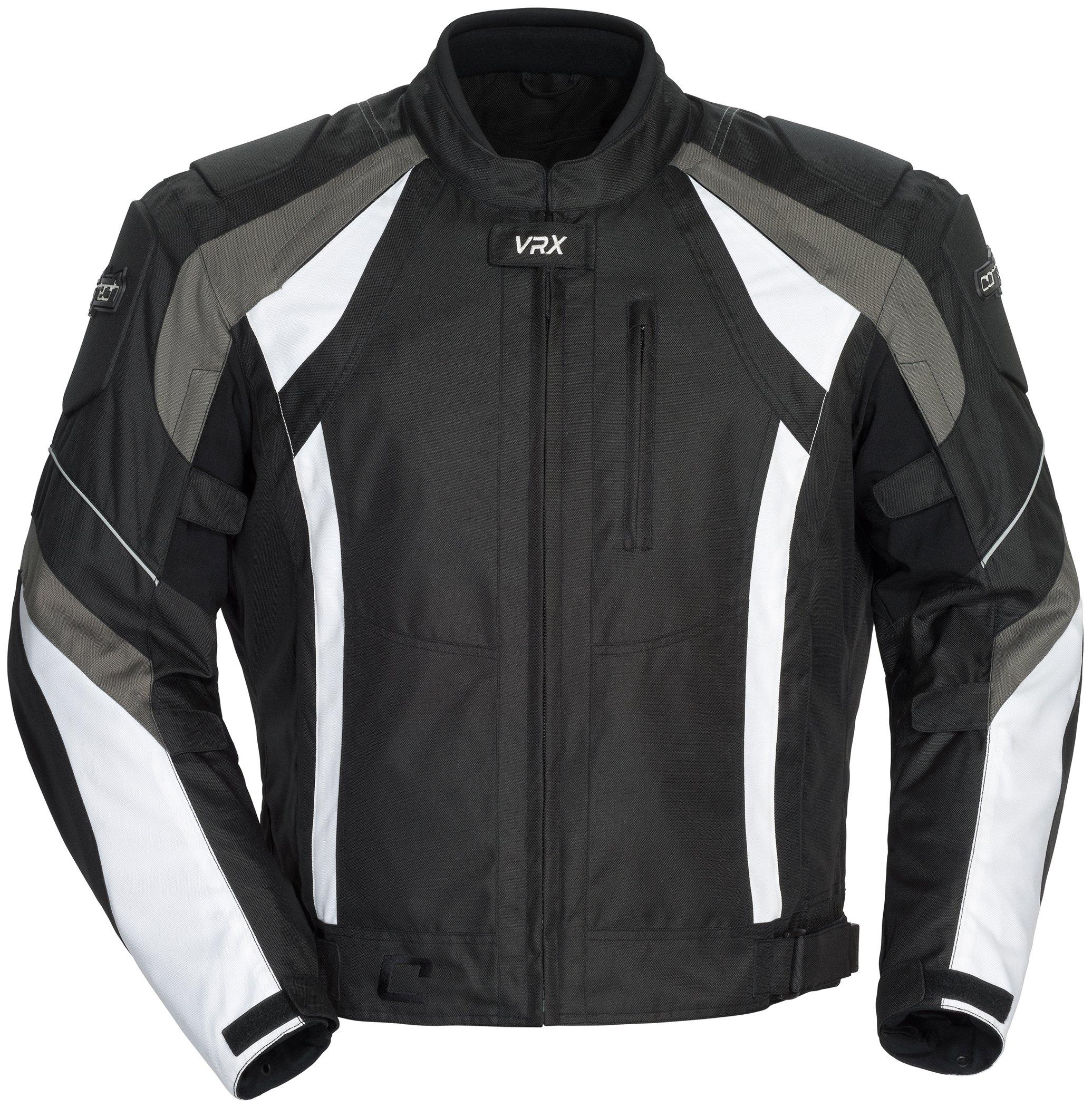 Cortech VRX Men's Textile Armored Motorcycle Jacket (Black/Gun/White, Medium)
