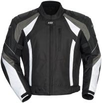 Cortech VRX Men's Textile Armored Motorcycle Jacket (Black/Gun/White, Medium)