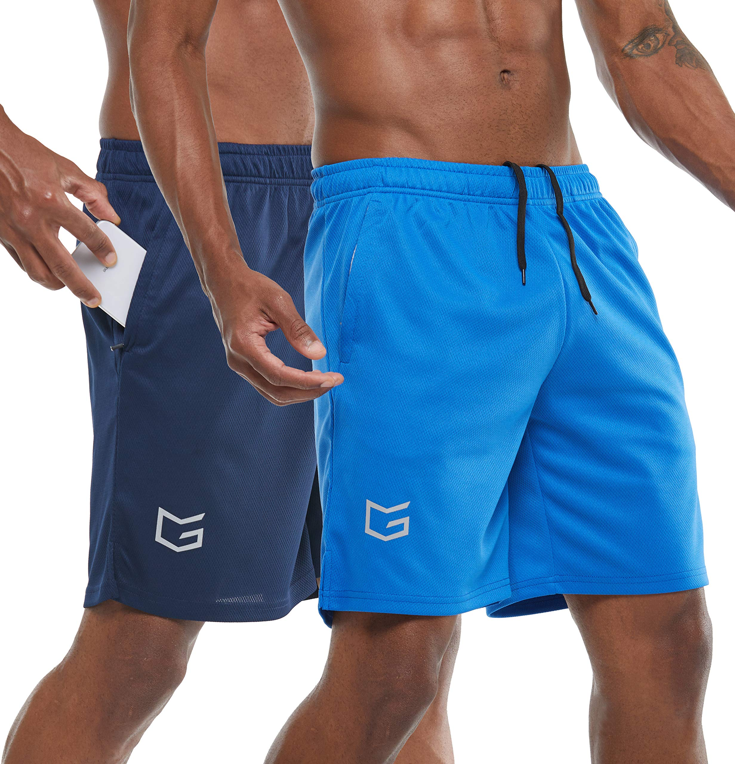 "G Gradual Men's 7"" Workout Running Shorts Quick Dry Lightweight Gym Shorts with Zip Pockets"
