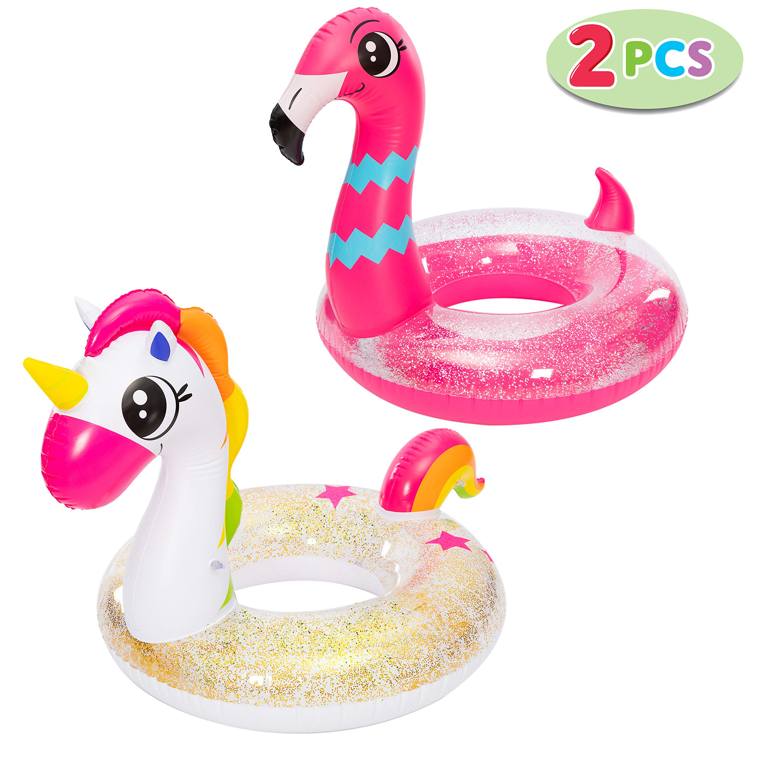 """JOYIN Inflatable Unicorn & Flamingo Pool Float with Glitters 35.5"""" (2 Sets), Pool Tubes for Floating, Fun Beach Floaties, Pool Toys, Summer Pool Party Decorations for Kids"""