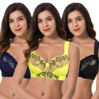 Curve Muse Plus Size Minimizer Unlined Wireless Bra with Lace Embroidery-3Pack