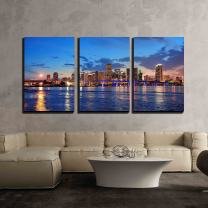 """wall26 - 3 Piece Canvas Wall Art - Miami City Skyline Panorama at Dusk with Urban Skyscrapers and Bridge Over Sea - Modern Home Decor Stretched and Framed Ready to Hang - 24""""x36""""x3 Panels"""