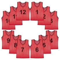 Murray Sporting Goods Mesh Scrimmage Practice Pinnies - Set of 12, Full Color Jersey or Numbered Practice Pinnies | Adult or Youth Team Training Vests Practice Jerseys for Multi-Sport Use Basketball, Soccer, Football