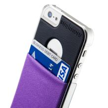 iPhone SE Wallet Case, Sinjimoru iPhone SE / 5 / 5sCase with Card Holder, Transparent Clear Hard Case Slim Wallet, Sinji Pouch Case for iPhone SE / 5 / 5s, Clear Case and Violet Pouch.