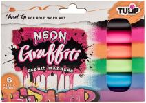 Tulip Graffiti Fabric Markers Chisel Tip 6pk, Neon, Premium Quality Ink, Permanent, Child Safe, for Fabric Painting, Drawing, Coloring, Writing on Clothes