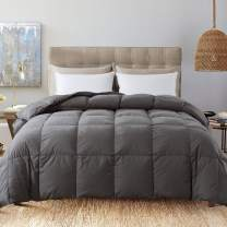 Decroom 100% Cotton Quilted Down Comforter- Goose Duck Down Feather Filling Duvet Insert- All Season or Stand-Alone Comforter - Grey Twin