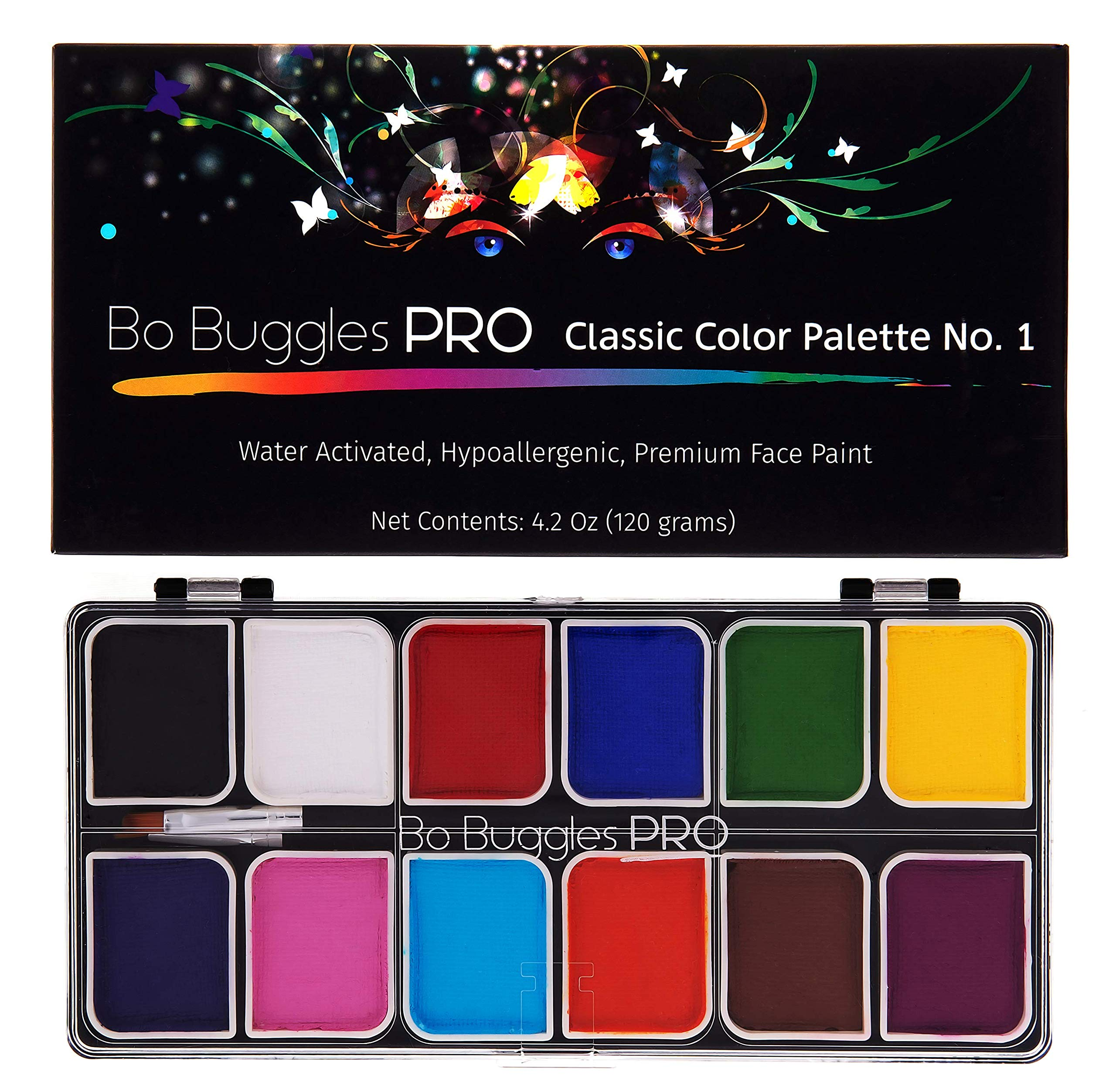 Bo Buggles Professional Face Paint Kit. Face Painting Palette No.1 Water-Activated Loved by Pro Painters for Vibrant Detailed Designs. 12x10 Gram Paints +2 Brushes. Safe Quality Makeup Paint Supplies