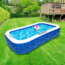 """Inflatable Swimming Pool, 118"""" X 72"""" X 22"""" Full-Sized Family Pool, Kiddie Pool, Blow Up Pool for Baby, Kids, Kiddie, Adult Inflatable Pool for Backyard, Outdoor, Garden, Ground & Summer Water Party"""