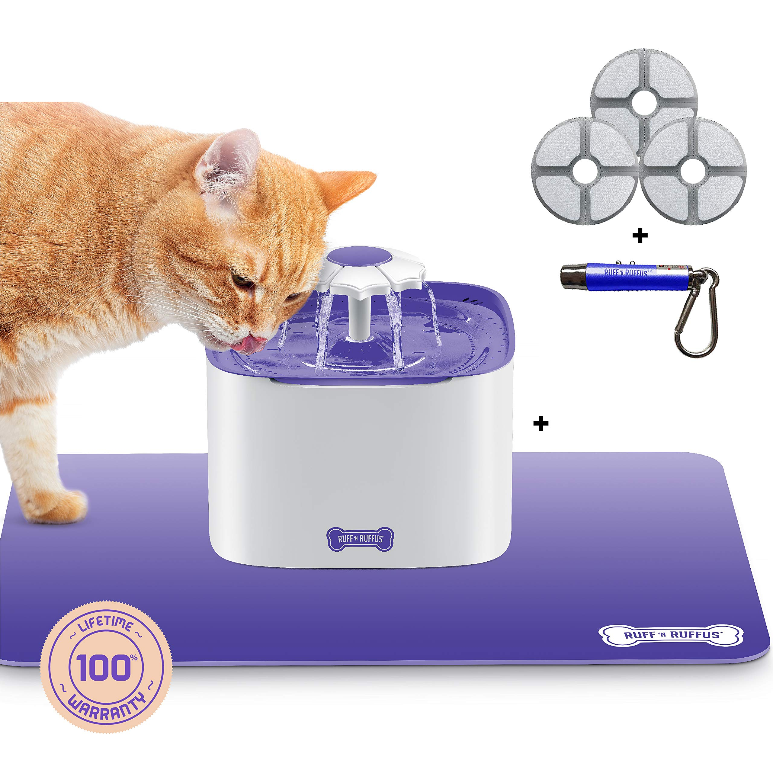 Ruff 'n Ruffus Cat Drinking Water Fountain with 3 Free Filters + Free Silicone Mat + Free Handheld Toy | 2-Liter Automatic Water Dispenser