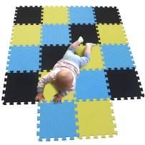 MQIAOHAM Children Puzzle mat Play mat Squares Play mat Tiles Baby mats for Floor Puzzle mat Soft Play mats Girl playmat Carpet Interlocking Foam Floor mats for Baby Black Yellow Blue 104105107