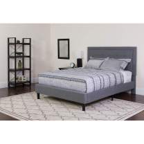 Flash Furniture Roxbury Twin Size Tufted Upholstered Platform Bed in Light Gray Fabric with Memory Foam Mattress
