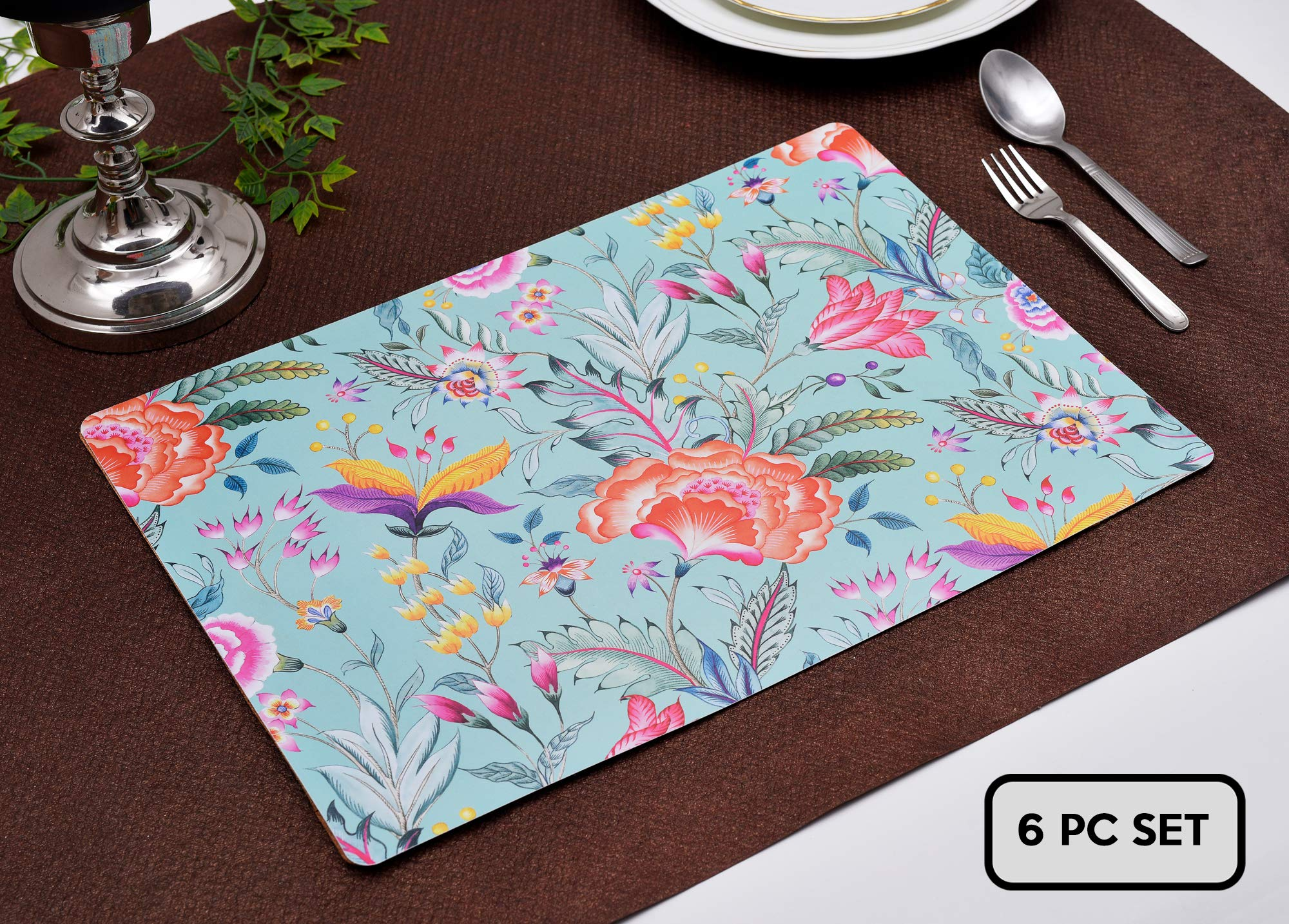 """Decozen Placemats for Dining Table - Coffee Table Floral Design Heat Resistant Scratch Proof Easy to Care Table Mats for Kitchen Décor 12""""X17"""" Inches Set of 6 Pieces"""