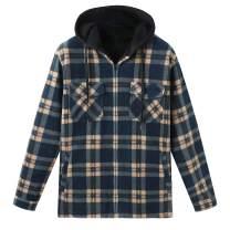 ZENTHACE Men's Sherpa Lined Full Zip Hooded Plaid Shirt Jacket