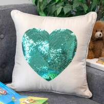 """Urban Loft by Westex Hypoallergenic Pillow, Nursery Décor for Infants, Toddlers & kids, 18"""" x 18"""", Sequin Heart Teal"""