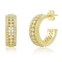 Spoil Cupid 925 Sterling Silver Cubic Zirconia 2-Prong Set Small Huggie Hoop Cartilage Earrings