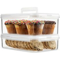 Komax Hikips 2-Piece Cookie Containers | Muffin, Cupcake Carrier Set | Premium Cookie Container Storage | BPA-Free Tritan Plastic | Airtight Locking Lids | Microwave, Freezer & Dishwasher Safe