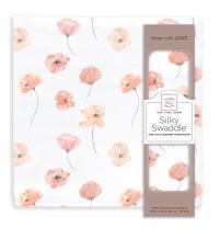 SwaddleDesigns Silky Swaddle, Watercolor Floral, Poppies, Bamboo Viscose, Coral Blush, Pink