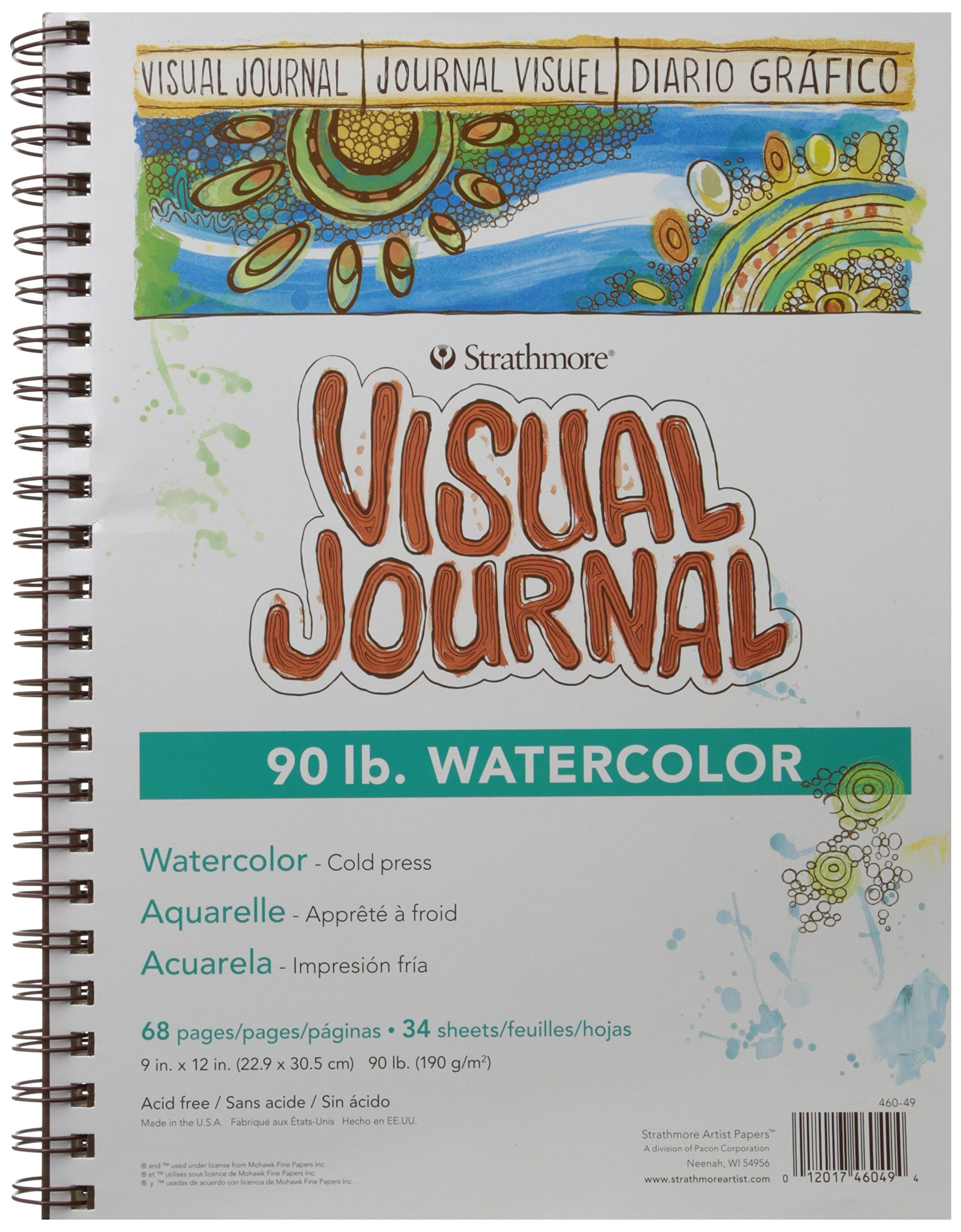 """Strathmore 400 Series Visual Watercolor Journal, 90 LB 9""""x12"""" Cold Press, Wire Bound, 34 Sheets"""