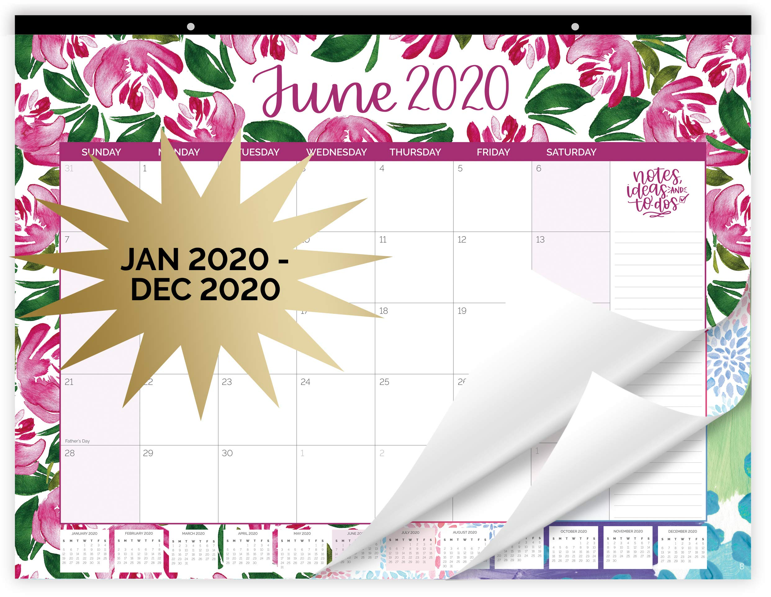 """bloom daily planners 2020 Desk/Wall Monthly Calendar Pad (January 2020 - December 2020) - Large 21"""" x 16"""" Hanging or Desktop Blotter - Watercolor"""