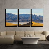 """wall26 - 3 Piece Canvas Wall Art - Deserts Sand Dune Death Valley - Modern Home Decor Stretched and Framed Ready to Hang - 16""""x24""""x3 Panels"""